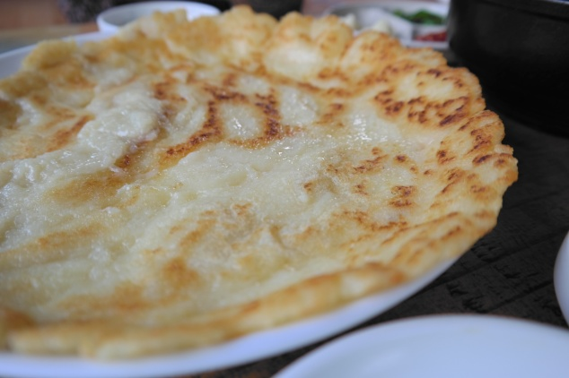Gamjajeon (potato pancake), crispy around the edges with a subtle chew in every bite. Gangwon Province is home to some of the best potatoes in the country.
